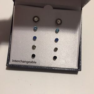 NEW 5 Pairs Of interchangeable studs earrings